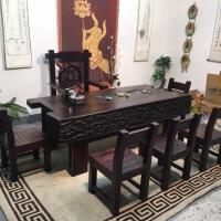 新中式茶桌椅老船木茶桌椅家具实木茶台茶几简约现代户外功夫泡茶桌 整装