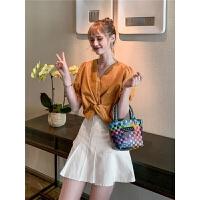 毛菇小象时尚灯笼袖上衣女2019新款韩版夏季v领短款复古港风衬衫