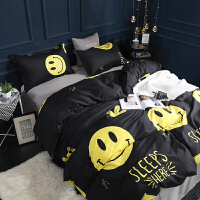 网红双人床上用品四件套男生裸睡床单被套女生宿舍单人床三件套4 黑色 微笑百事达 B