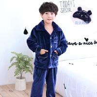 儿童睡衣珊瑚绒秋冬季韩版可爱加厚款男童女童小孩法兰绒宝宝套装
