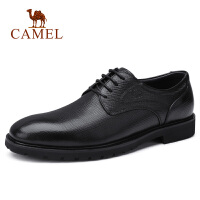 camel骆驼男鞋 2018秋季新款男士商务正装牛皮闲系带办公通勤皮鞋