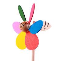 儿童玩具出口韩国木质木制拼组装卡通小丑风车