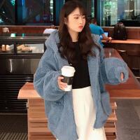 冬季韩版中长款连帽仿棉衣BF风宽松加厚保暖开衫外套女 均码