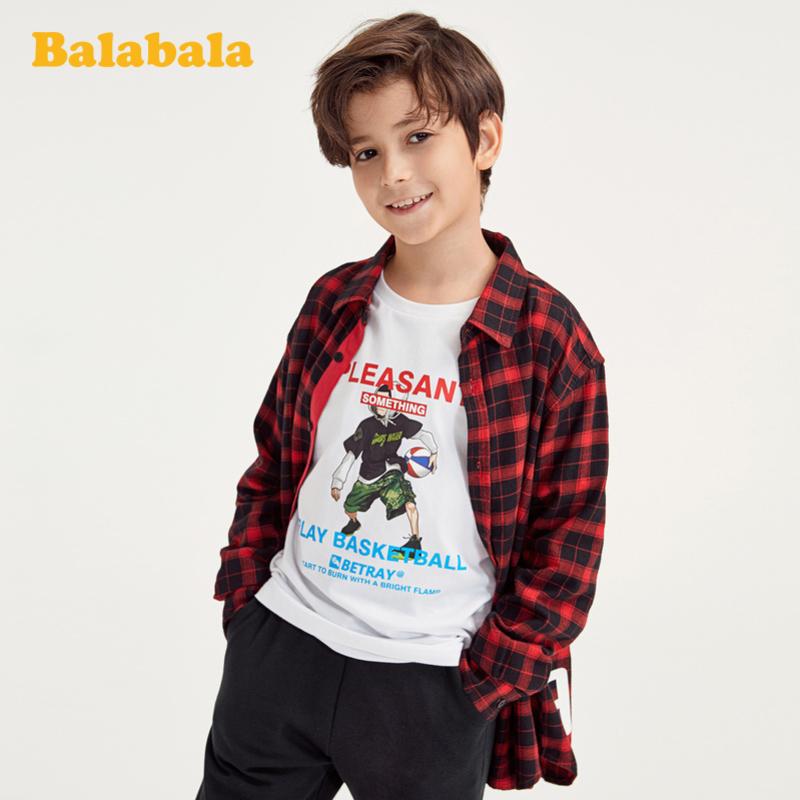 巴拉巴拉儿童衬衫春季男童衬衣长袖中大童经典格纹百搭洋气时尚男