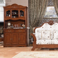 纯实木 1.2米美式酒柜欧式家具全实木酒柜定做象牙白柏木餐边柜 双门
