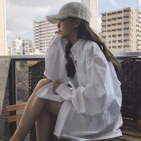 2018秋季新款韩版白色衬衫chic长袖慵懒上衣网红宽松衬衣外套女生 均码