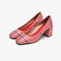 PITTI DONNA欧美时尚格纹方头粗跟高跟女单鞋女鞋 9T71901
