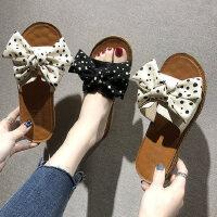 韩版女士百搭一字凉拖鞋 外穿蝴蝶结平底拖鞋女 新款chic波点女鞋凉鞋