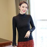 针织衫 女士时尚亮丝针织衫2019秋冬女式韩版长袖打底衫学生修身收腰上衣