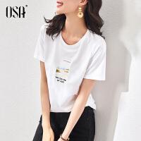 OSA白色短袖t恤女宽松夏季2021年新款时尚印花体恤上衣百搭显瘦春