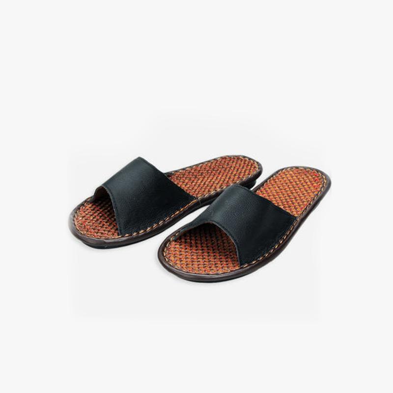 当当优品 男女家居拖鞋 牛皮拖鞋 棕丝底凉拖鞋 室内防滑地板拖鞋T1611