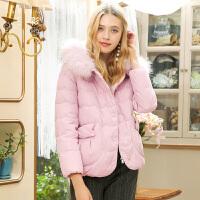 三彩2017冬装新品真毛领白鸭绒外套宽松羽绒服女短款小个子外套