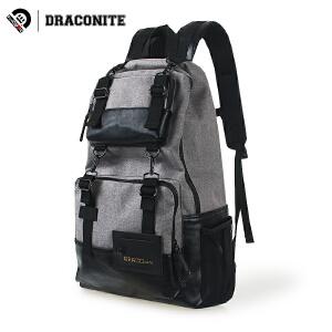 【支持礼品卡支付】DRACONITE潮流帆布背包男欧美英伦街头大容量双肩背包电脑背包
