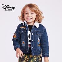 迪士尼宝宝森林探险男童梭织牛仔棉服2018冬款上新