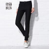 OSA欧莎女装秋装新款 纯色显瘦九分休闲裤C52121