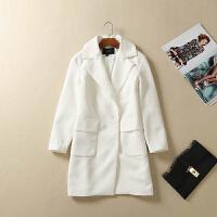 贝贝西装领长袖中长款风衣女秋冬新款长款西装外套气质大衣