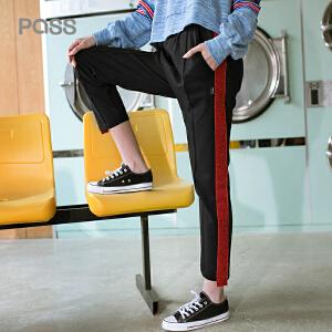 PASS2018夏装新款宽松直筒裤九分裤侧条纹拼色街头运动休闲裤潮