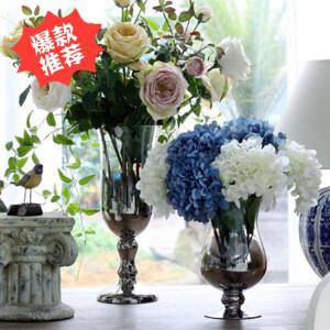 【每满100减50】幸阁 插花欧式镀银高脚玻璃花瓶 手工花插水培花器多规格可选