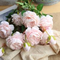 仿真牡丹花玫瑰花束婚庆家居客厅装饰干花假花绢花插花摆件家装软饰花艺