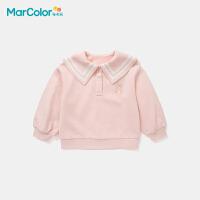 【限时2件3折】马卡乐童装2021秋季新款娃娃领女童甜美海军风卡通卫衣