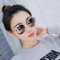 2018新款新款墨镜女圆脸潮紫外线太阳镜女韩国同款网红粉色眼镜防晒