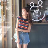 201新款8夏装女装百搭时尚小吊带上衣服韩版女学生闺蜜装显瘦短版性感外穿毛衣针织打底女背心 条纹