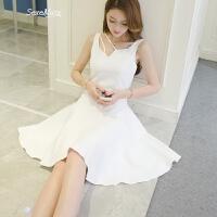 气质小礼服女2018夏装新款女装无袖打底背心裙吊带白色a字连衣裙 白色