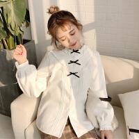 秋冬女装韩版小清新加绒衬衫长袖蝴蝶结休闲白衬衣学生打底上衣潮