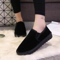 2018韩版潮情侣雪地靴短靴乐福款冬季加绒女棉鞋学生保暖面包鞋男