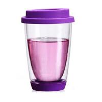 绚丽杯情侣杯350ml双层耐热手工艺玻璃杯彩色带硅胶盖底垫茶杯玻璃牛奶杯水杯子紫色