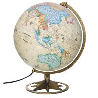 博目地球仪:30cm中英文政区古典立体地球仪(立体地形,欧式古地图设计,内置LED灯,玫瑰花瓣支架造型)