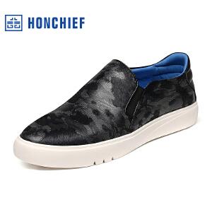 HONCHIEF 红蜻蜓旗下 秋季新款马毛真皮板鞋男士懒人鞋韩版套脚鞋