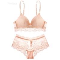 粉色蕾丝无钢圈少女内衣套装薄款性感细带美背法式文胸