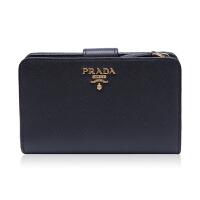 Prada/普拉达黑色牛皮材质金属logo装饰女士中长款钱夹