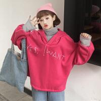 秋冬韩版宽松高领毛衣拼接假两件套头连帽卫衣外套学生字母上衣女