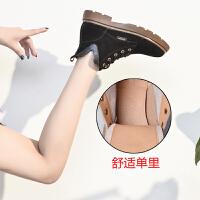 马丁靴女2018新款秋冬季韩版英伦风百搭加绒马靴网红短靴女鞋子潮 黑色 (单里)