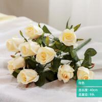 假花摆件仿真玫瑰花束客厅摆设装饰花艺塑料花餐桌花绢花插花花艺