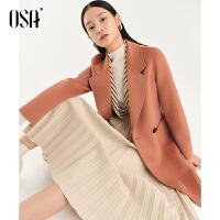 【3折折后价:1399元】OSA欧莎双面毛呢外套女2021年秋冬季新款中长款100%羊毛呢子大衣