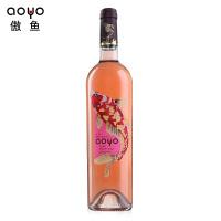 傲鱼aoyo智利原装原瓶进口红酒 梅洛玫瑰红半甜红葡萄酒750ml*1