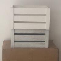 新款实木收纳箱储物箱特大号木条木板箱长方形镂空加厚包角杂物盒 白色 A款