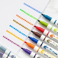 双头变色荧光笔 糖果色彩色银光的笔 学生用品固体标记笔套装