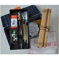12 18 24色国画颜料套装工具17件套装 画笔笔墨纸砚俱全 书法毛笔练习须备