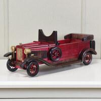 创意酒架复古老爷车模型木质红酒架客厅玄关家居礼品装饰摆件Q