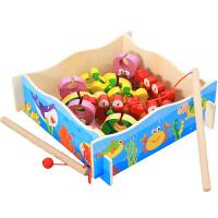 木质拼搭立体钓鱼玩具 双杆亲子钓钓乐游戏 益智早教趣味1-2-3岁