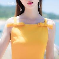 2018夏季新款�n版修身�@瘦蝴蝶�C小清晰A字裙吊�нB衣裙短裙裙子 �S色
