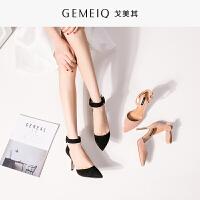 戈美其春夏季新品性感单鞋一字扣带高跟鞋中空韩版时尚尖头女鞋