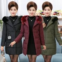 中老年女装冬装羽绒中年妈妈装棉衣外套女中长款40-50岁棉袄