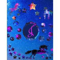 【预订】Starry Unicorns Notebook Monogram Series J: College Rule