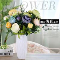 包邮简约现代舞线工艺品白色陶瓷花瓶二件套玫瑰绣球仿真花艺套装