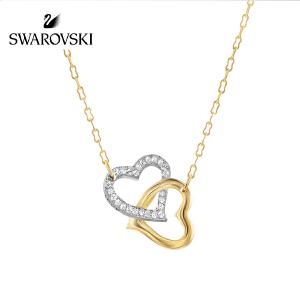 SWAROVSKI/施华洛世奇 情人节礼物 新品 match双心链坠情侣项链锁骨链 镀金色&镀白金色 1062708